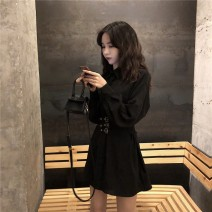 Dress Spring 2020 black Average size Middle-skirt singleton  Long sleeves commute Polo collar High waist Solid color other A-line skirt routine 18-24 years old Other / other Korean version