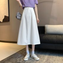 skirt Spring 2021 S,M,L White, black Mid length dress Versatile High waist A-line skirt Solid color Type A 18-24 years old 31% (inclusive) - 50% (inclusive) other other