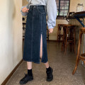 skirt Summer 2021 S,M,L,XL navy blue Mid length dress Versatile High waist Denim skirt Solid color Type A 18-24 years old 31% (inclusive) - 50% (inclusive) other other Make old