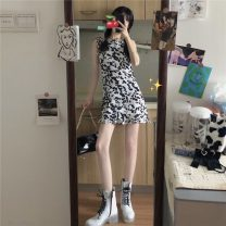 Dress Summer 2021 Cardigan, suspender skirt S. M, average size Short skirt Two piece set Sleeveless commute One word collar High waist other Socket A-line skirt other camisole 18-24 years old Type A Korean version 31% (inclusive) - 50% (inclusive) other other
