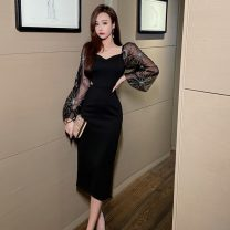 Dress Autumn 2020 black S,M,L longuette singleton  Long sleeves commute V-neck High waist other zipper One pace skirt bishop sleeve Others Type A Other / other Korean version H11.6 other polyester fiber