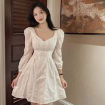Dress Spring 2021 white S, M Middle-skirt singleton  Long sleeves commute square neck middle-waisted other 18-24 years old Korean version L3.21 cotton