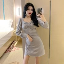 Dress Summer 2021 white , black , Bluish grey , White [short sleeve] , Black [short sleeve] , Blue grey [short sleeve] S,M,L Short skirt singleton  Short sleeve commute other High waist Solid color other Irregular skirt routine Others Type A Other / other Korean version A719 other other