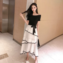 Dress Summer 2021 Black and white color matching S,M,L,XL longuette singleton  Short sleeve commute One word collar High waist Solid color Socket Irregular skirt routine Others 18-24 years old Other / other Korean version bow Q3.4 31% (inclusive) - 50% (inclusive) other