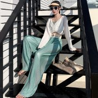 Casual pants Black, dark green, mint green, silver grey XS,S,M,L,XL,2XL Summer 2021 trousers Wide leg pants High waist Thin money 71% (inclusive) - 80% (inclusive) other fold