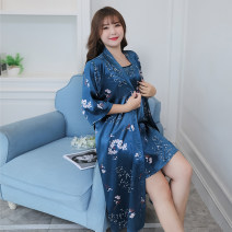 Nightgown / bathrobe Meiyesida female Thin money luxurious Polyester (polyester) summer More than 95% Medium length (knee to Mid Calf) silk Plants and flowers juvenile One piece 220g