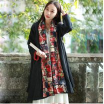 Windbreaker Spring 2020 Average size black Long sleeves routine Medium length commute other Half open collar routine Solid color Skirt type ethnic style 1886-10 40-49 years old Pockets, panels, buttons 31% (inclusive) - 50% (inclusive) other cotton cotton