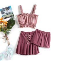 Split swimsuit Morning of the rising sun 3020 pink three piece set, 3020 white three piece set One size fits all, s, m, l Skirt split swimsuit With chest pad without steel support Polyester, others female Crew neck