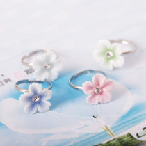 Ring / ring 1.00-9.99 yuan other QingGe Light blue blue pink light green brand new sweet Spot Female Freshly baked Inlaid artificial stone / semi-precious stone Plant flowers JZ 2