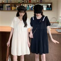 Dress Summer 2021 Apricot, black, free freight insurance, no reason to return or exchange goods in seven days Average size Short skirt Two piece set Short sleeve commute Admiral Loose waist stripe Pleated skirt routine 18-24 years old Type A Korean version Bow tie