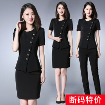 Professional dress suit S [special price for broken code] m [stop when sold out] l [earn by grabbing] XL [guarantee of authentic products] 2XL [counter quality] 4XL [no worry about return and exchange] [black 2-piece set] coat + skirt [black 2-piece set] coat + pants Spring 2020 Short sleeve 1613Y