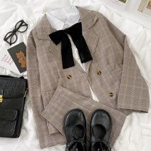 Professional dress suit S. M, average size White shirt [send bow tie], plaid suit [two piece set] Spring 2021 Long sleeves loose coat Pleated skirt 18-25 years old Other / other 96% and above cotton