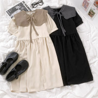 Dress Summer 2021 Apricot, black Average size 18-24 years old More than 95% polyester fiber