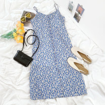 Dress Summer 2021 Blue floral skirt S, M 18-24 years old More than 95% polyester fiber