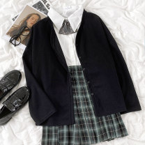 shirt Tie, shirt, plaid skirt, black coat Average size, s, M Summer 2021 other 96% and above 18-24 years old
