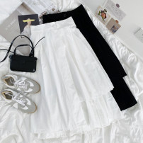 skirt Summer 2021 Average size White, black Mid length dress commute High waist Cake skirt Solid color Type A 18-24 years old 30% and below cotton Korean version