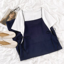 Fashion suit Summer 2021 Average size T-shirt, suspender skirt 18-25 years old 96% and above cotton