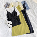 Dress Summer 2021 Yellow, black, Tibetan blue S, M Miniskirt commute Others 18-24 years old 71% (inclusive) - 80% (inclusive) other polyester fiber