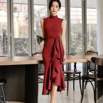 Dress Summer 2020 Red, black S,M,L,XL longuette singleton  Sleeveless commute High collar High waist Solid color zipper Irregular skirt Type X Other / other Korean version Frenulum 51% (inclusive) - 70% (inclusive) Vinylon