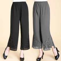 Middle aged and old women's wear Summer 2020 White, gray, black 50. XL (105-120 kg recommended), 2XL (120-135 kg recommended), 3XL (135-150 kg recommended), 4XL (150-170 kg recommended) fashion trousers easy Solid color 40-49 years old thin Embroidery Chiffon 96% and above 7 / 9 pants