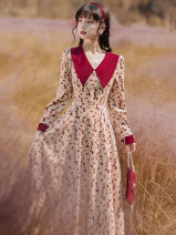 Dress Spring 2021 Apricot S,M,L,XL longuette singleton  Long sleeves commute V-neck High waist Broken flowers zipper A-line skirt routine Type A Retro Panel, button, zipper