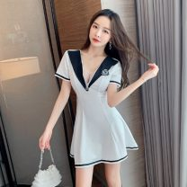 Dress Summer 2021 White, blue, black S,M,L Short skirt singleton  Short sleeve Sweet V-neck High waist Solid color Big swing 18-24 years old Other / other 98509# cotton college