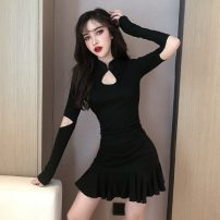Dress Winter of 2019 Grey, pink, Burgundy, black S,M,L,XL Short skirt singleton  Long sleeves commute stand collar High waist Solid color zipper Ruffle Skirt other Others 18-24 years old Type A Retro Lotus leaf edge 31% (inclusive) - 50% (inclusive) brocade polyester fiber