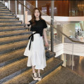 Fashion suit Summer 2021 S,M,L,XL 661 black T-shirt + white skirt 30% and below