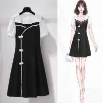 Dress Spring 2021 948 black M,L,XL,2XL,3XL,4XL Mid length dress singleton  Sweet routine Type A More than 95% other