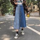 skirt Summer 2021 S,M,L,XL 7096 blue Mid length dress commute High waist A-line skirt Type A 71% (inclusive) - 80% (inclusive) other Korean version