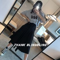 skirt Spring 2021 S,M,L Black, white Mid length dress commute High waist Pleated skirt Solid color Type A More than 95% other other