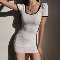 Dress Summer 2021 Black, white S, M Short skirt singleton  Short sleeve High waist camisole