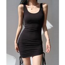 Dress Summer 2021 Black, gray, khaki S, M Short skirt singleton  Sleeveless Crew neck High waist camisole
