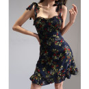 Dress Summer 2021 Black flowers S, M Short skirt singleton  Sleeveless High waist camisole