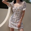 Dress Summer 2020 Broken flowers on a white background S,M,L Short skirt Short sleeve High waist