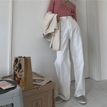 Jeans Spring 2021 White, black S,M,L,XL,2XL,3XL,4XL trousers High waist Wide legged trousers routine 18-24 years old washing Cotton denim Dark color 81% (inclusive) - 90% (inclusive)