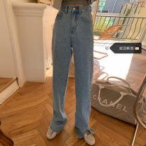 Women's large Spring 2021, summer 2021, autumn 2021 wathet S [recommended 80-95 kg], m [recommended 95-110 kg], l [recommended 110-125 kg], XL [recommended 125-140 kg], 2XL [recommended 140-160 kg], 3XL [recommended 160-180 kg], 4XL [recommended 180-200 kg] Jeans singleton  commute easy moderate