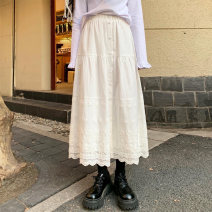 skirt Spring 2020 S,M,L White, black Mid length dress Sweet High waist A-line skirt Solid color Type A 18-24 years old More than 95% cotton solar system