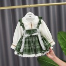 Dress Green, black, white, decor, yellow female Other / other 80cm,90cm,100cm,110cm,120cm Other 100% spring and autumn princess Long sleeves lattice cotton A-line skirt Class A 12 months, 9 months, 18 months, 2 years old, 3 years old, 4 years old, 5 years old, 6 years old Chinese Mainland