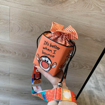 Bag The single shoulder bag PU Bucket bag Other / other brand new like a breath of fresh air Mini leisure time soft Strip extraction no Cartoon animation Single root One shoulder cross nothing youth cylindrical printing Soft handle cotton soft surface Three dimensional bag