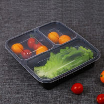 Disposable lunch box Chinese Mainland rectangle box 100 or more Plastic Black transparent Three hundred and seventy-nine