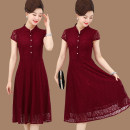 Middle aged and old women's wear Summer 2020 Red, green, navy fashion Dress easy singleton  Solid color 40-49 years old Conjoined thin Crew neck routine Independent brand Embroidery Lace 96% and above zipper Lace Ruffle Skirt 181g / m ^ 2 (including) - 200g / m ^ 2 (including)