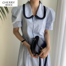 Dress Summer 2020 Apricot, blue M, L longuette singleton  Short sleeve commute Doll Collar Solid color Single breasted A-line skirt routine Others 18-24 years old Type A Korean version
