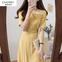 Dress Summer 2021 S,M,L,XL Mid length dress singleton  Short sleeve commute square neck High waist Solid color zipper A-line skirt routine Others 18-24 years old Type A Other / other Korean version Lace up, stitching, zipper 51% (inclusive) - 70% (inclusive) other hemp