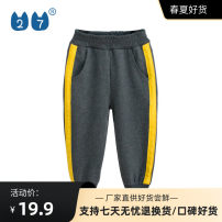 trousers 27KIDS neutral 90cm,100cm,110cm,120cm,130cm,140cm LS5620 spring and autumn trousers motion No model Sports pants Leather belt middle-waisted Cotton blended fabric Don't open the crotch Class A