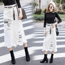 Women's large Spring 2018, autumn 2018, winter 2018 White 8848 (same belt + pendant) skirt commute moderate Korean version Denim, polyester, cotton Hand abrasion Other / other 18-24 years old hole Medium length