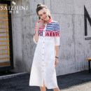 shirt Red and blue stripe Collection + priority delivery with shopping cart (invalid option don't shoot) S M L XL Summer of 2019 cotton 96% and above Long sleeves commute Medium length Polo collar Single row multi button routine stripe 25-29 years old Straight cylinder Saizhini Korean version