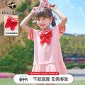 Dress Pink 1 meatball series female mini peace 110cm 120cm 130cm 140cm 150cm 160cm Cotton 95% polyurethane elastic fiber (spandex) 5% summer Korean version Short sleeve Solid color other other F2FAB2C26 Class B Summer 2021