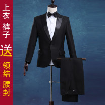 man 's suit black Love of Snow Wolf Youth fashion routine S M L XL XS XXL XXXL XXXXL wy-009 New polyester fiber 100% Spring 2016 Self cultivation A single breasted button dance No slits Pure e-commerce (online only) youth Long sleeves Four seasons routine Exquisite Korean style Formal dress Round hem