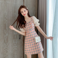 Dress Summer 2020 Picture color S,M,L,XL Short skirt singleton  Short sleeve commute other High waist lattice zipper A-line skirt pagoda sleeve Others Korean version Stitching, sequins